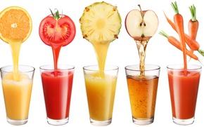 Обои соки, яблоко, белый фон, апельсин, стаканы, ананас, томат, напитки, морковь