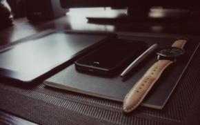 Картинка стол, черный, Apple, часы, ручка, блокнот, телефон, black, планшет, notebook, Parker, table, pen, phone, tablet, …