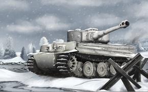Картинка зима, война, рисунок, Тигр, танк, Арт, Tiger, немецкий, Вторая Мировая война, тяжёлый, Panzerkampfwagen Vl, противотанковый …