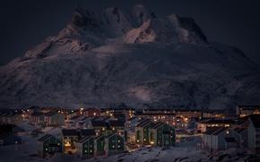 Картинка зима, снег, горы, ночь, огни, озеро, дома, Гренландия, Нуук
