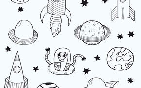 Картинка космос, луна, звезда, корабль, планета, ракета, комета, инопланетянин, галактика, полёт