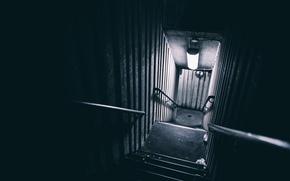 Картинка лестница, свет, лампа, Ночь, Торонто, улица, настроение, Канада