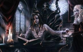 Картинка девушка, кровь, бокал, платье, демон, рога, вампир, трон, писатель, writer, succubus