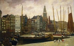 Картинка картина, городской пейзаж, Георг Хендрик Брейтнер, Улица Дамрак в Амстердаме
