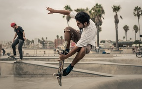 Картинка пальмы, прыжок, скейтбординг, скейтборд, городской, экстремальный спорт, дождливый, повесить свободную