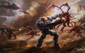 Картинка оружие, транспорт, корабли, войны, скафандр, арт, монстры, броня, битва, StarCraft II, gasone