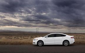 Картинка дорога, тучи, степь, Ford, форд, mondeo, мондео