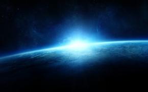 Картинка звезды, поверхность, планета, горизонт, sunrise