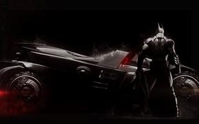 Картинка Плащ, Броня, Брюс Уэйн, Темный Рыцарь, Бэтмобиль, Bruce Wayne, Экипировка, Warner Bros. Interactive Entertainment, Rocksteady ...