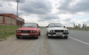 Картинка дорога, BMW, БМВ, белая, красная, E30