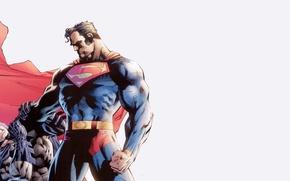 Картинка fantasy, Batman, minimalism, Marvel, fight, comics, Superman, superhero, costume, cape, Superman vs Batman