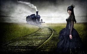 Обои дорога, девушка, стиль, поезд