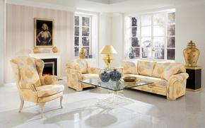 Картинка стиль, картина, мебель, стол, Design, окно, диван, особняк, гостиная, Interior, Living, камин, дизайн