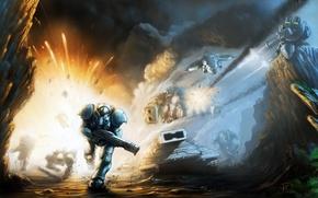 Картинка взрыв, оружие, пушки, Starcraft 2, пехотинец, танки