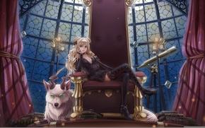Картинка грудь, взгляд, девушка, книги, зверь, телескоп, трон, art, sunimu