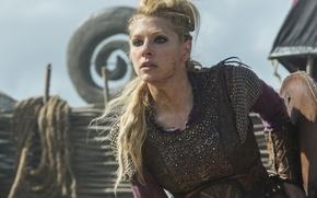 Обои Lagertha, взгляд, Викинги, Katheryn Winnick, Vikings