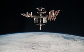 Картинка космос, спутник, МКС, стыковка, спэйс шаттл