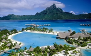 Картинка океан, отель, бунгало, Bora Bora