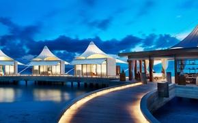 Картинка beach, ocean, resort, bungalows