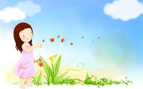 Картинка небо, облака, цветы, улыбка, ветер, лепестки, платье, девочка, детские обои