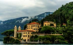 Картинка море, деревья, горы, дом, побережье, вилла, Италия, Lombardy, Villa Balbianello