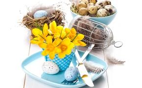 Картинка цветы, праздник, яйца, тарелка, декор, ПАСХА, сервировка, Natalia Klenova