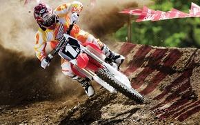 Картинка земля, гонка, спорт, поворот, мотоцикл, гонки, мотокросс, гонщик
