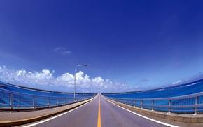 Обои мост, разметка, дорога, линия, голубой, облака, фонарь, перила