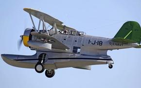 Картинка полет, ретро, самолет, пилоты, амфибия, Grumman J2F Duck