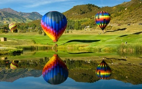 Картинка небо, горы, озеро, воздушный шар