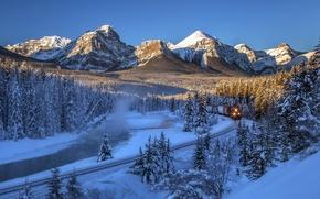 Картинка река Боу, Bow River, горы, зима, поезд, железная дорога, Banff National Park, Канада, река, лес, ...