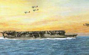 Картинка корабль, арт, авианосец, флот, военный, японский, WW2, aircraft carrier, IJN, Ryujo