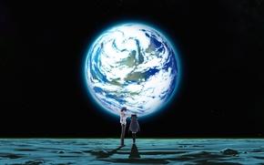 Картинка девушка, космос, земля, луна, планета, аниме, арт, пара, парень, двое, izumi mahiru