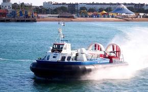 Картинка пляж, брызги, берег, скорость, залив, корабль на воздушной подушке, Hovercraft
