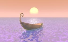 Картинка море, вода, солнце, туман, ладья