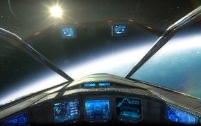 Картинка космос, фантастика, корабль, панель, sci-fi