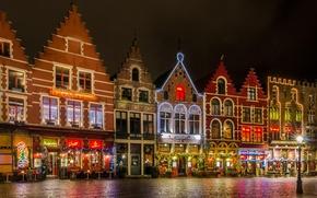 Картинка ночь, огни, площадь, Рождество, Бельгия, Брюгге, Гроте-Маркт