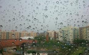 Картинка bokeh, drops, buildings, rainy