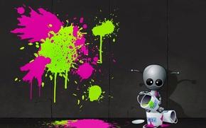 Обои художник, стена, пришелец, граффити, краска