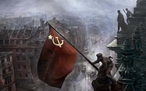 Обои флаг, 9мая, солдаты, день победы