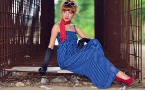 Картинка девушка, платье, перчатки, азиатка, шарфик
