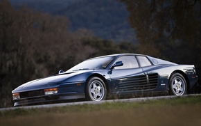 Картинка Dark, Ferrari, Blue, 512, Testarossa