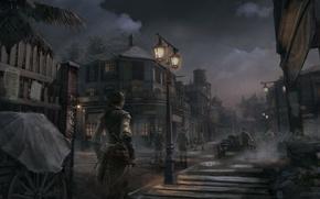 Картинка девушка, ночь, город, Эвелин, ассасин, Assassin's Creed 3, Кредо убийцы 3, New Orleans Dusk