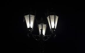 Картинка свет, ночь, улица, черный, минимализм, фонарь