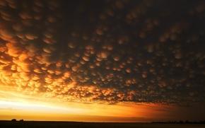 Обои странно, поле, облака