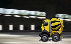 Обои грузовик, бетономешалка, микро