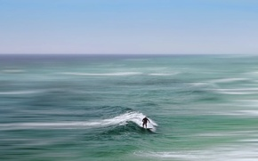 Обои море, человек, волна, доска