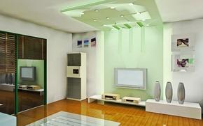 Картинка зеленый, стиль, комната, интерьер, квартира, жизайн