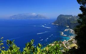 Картинка море, город, остров, пристань, Italy, Amalfi, Island, Capri