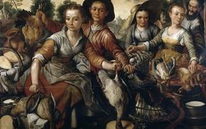 Картинка люди, картина, торговля, жанровая, Иоахим Бейкелар, Рынок